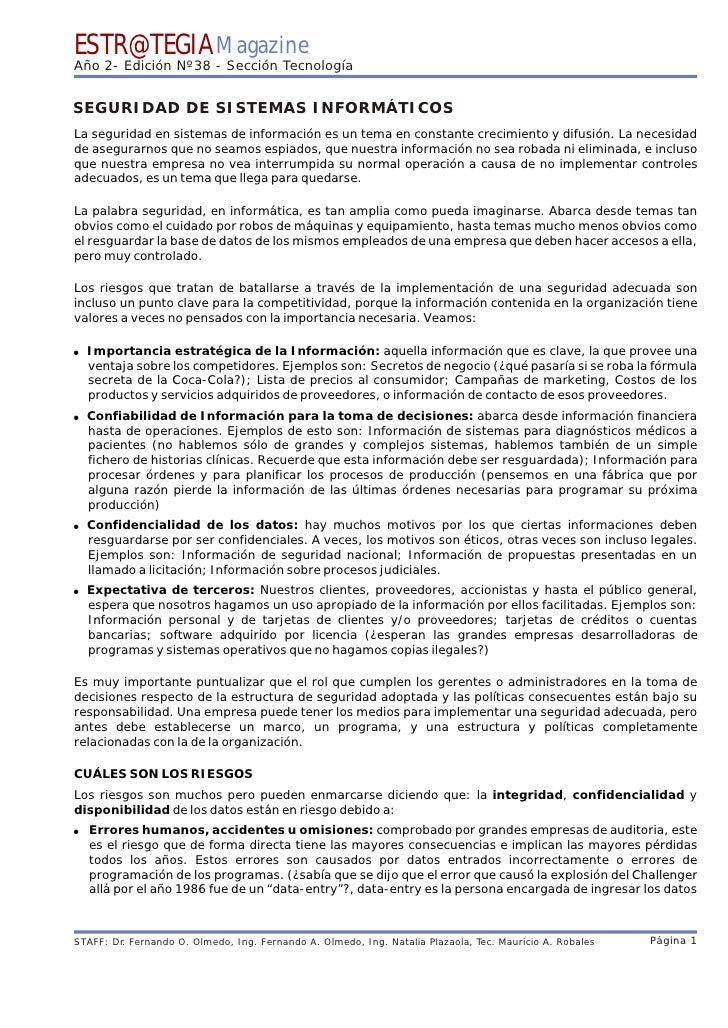 ESTR@TEGIA Magazine Año 2- Edición Nº38 - Sección Tecnología   SEGURIDAD DE SISTEMAS INFORMÁTICOS La seguridad en sistemas...