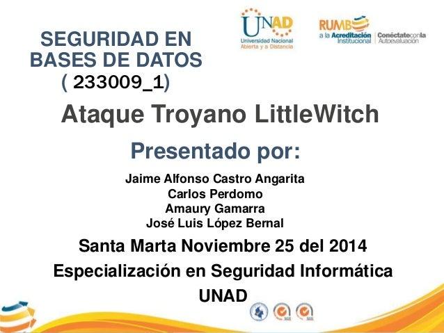 SEGURIDAD EN  BASES DE DATOS  ( 233009_1)  Ataque Troyano LittleWitch  Presentado por:  Jaime Alfonso Castro Angarita  Car...
