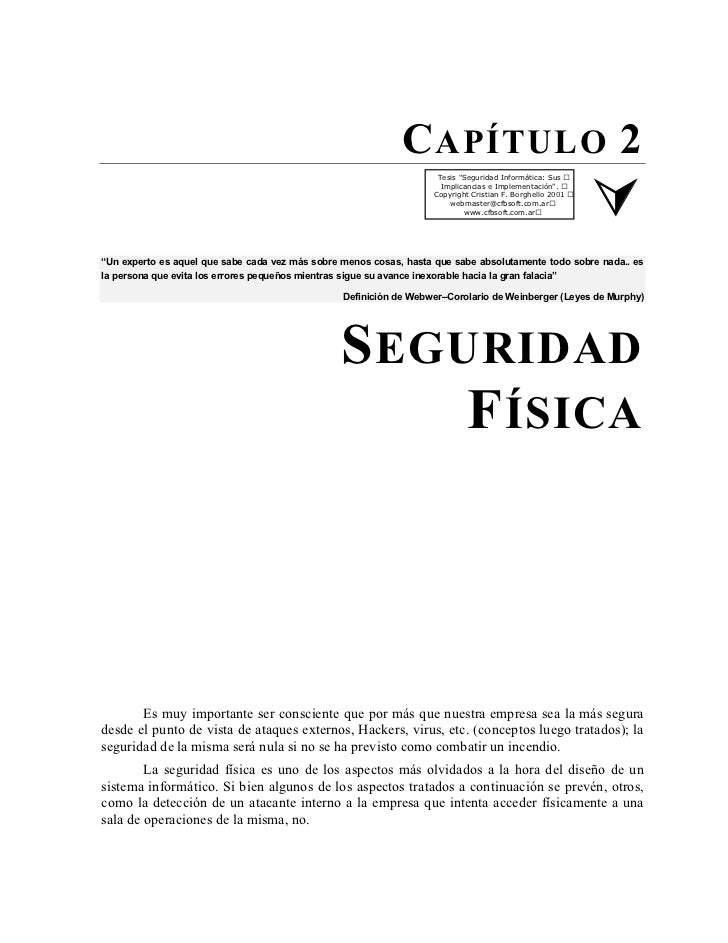 """C APÍTULO 2                                                                     Tesis """"Seguridad Informática: Sus         ..."""
