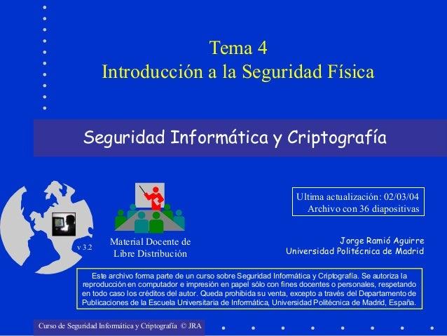 Seguridad Informática y Criptografía Material Docente de Libre Distribución Ultima actualización: 02/03/04 Archivo con 36 ...