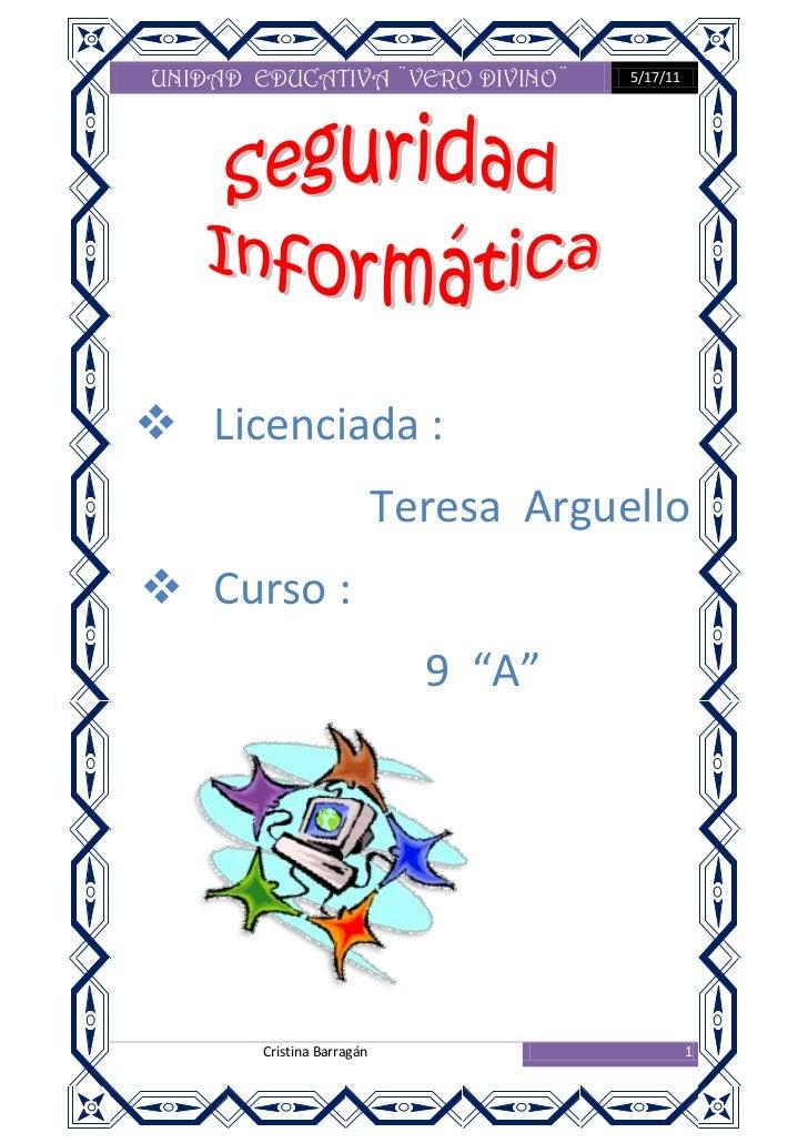 "Licenciada :  <br />                       Teresa  Arguello<br />Curso :<br />                            9  ""A""<br />6671..."