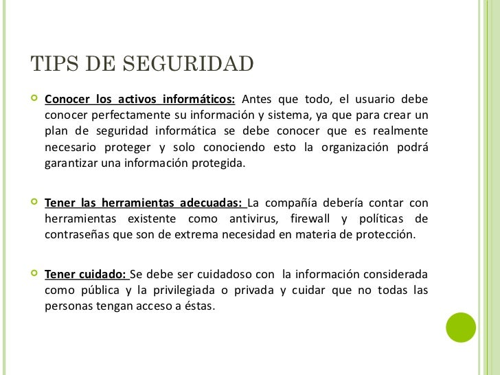 Tips Seguridad Informatica Tips de Seguridad
