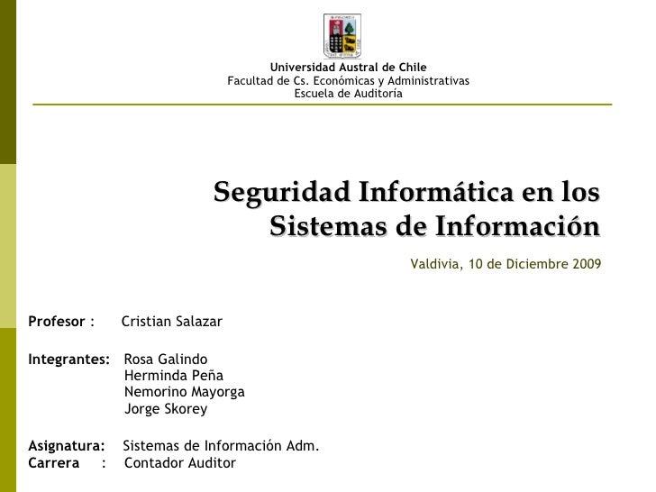 Seguridad Informatica En Los Sistemas De InformacióN