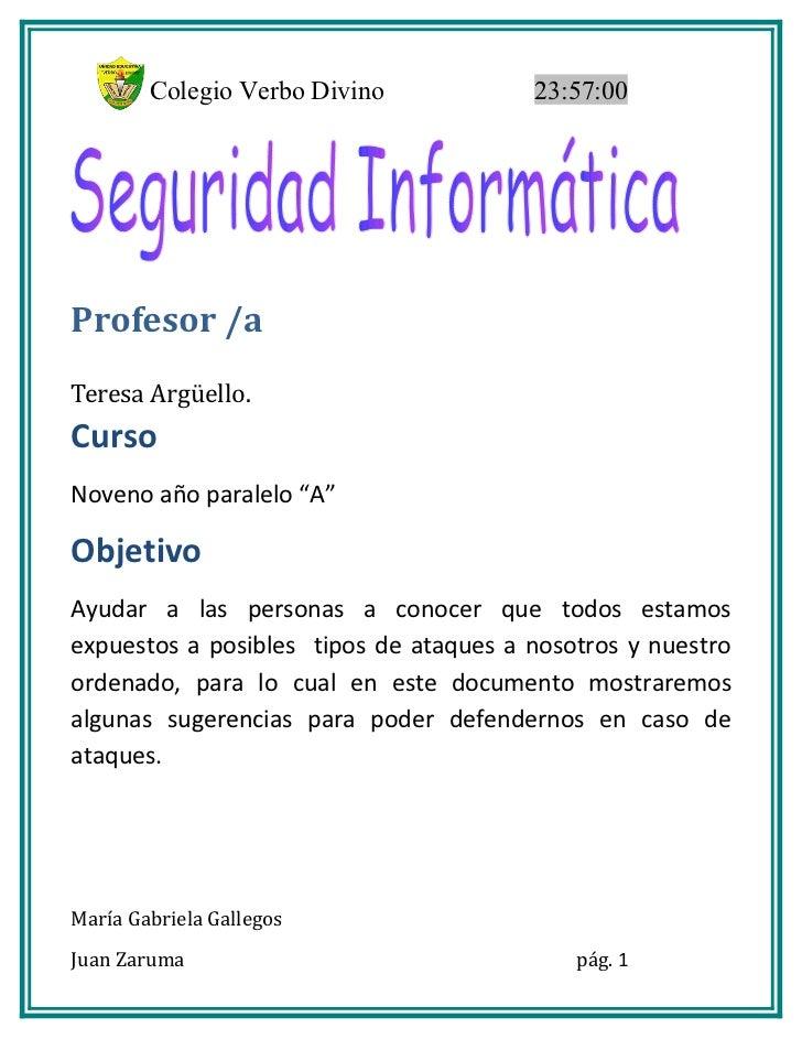 """Colegio Verbo Divino            23:57:00Profesor /aTeresa Argüello.CursoNoveno año paralelo """"A""""ObjetivoAyudar a las person..."""