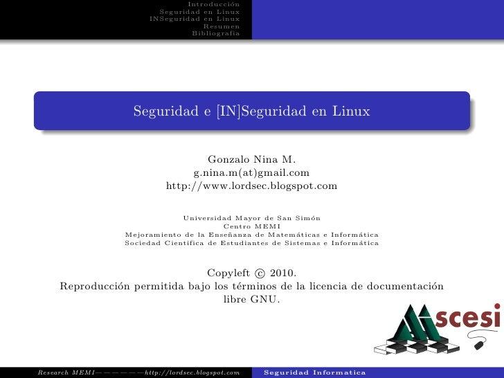 Introducci´n                                           o                           Seguridad en Linux                     ...