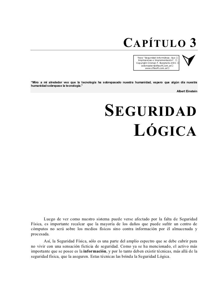 """C APÍTULO 3                                                                   Tesis """"Seguridad Informática: Sus           ..."""