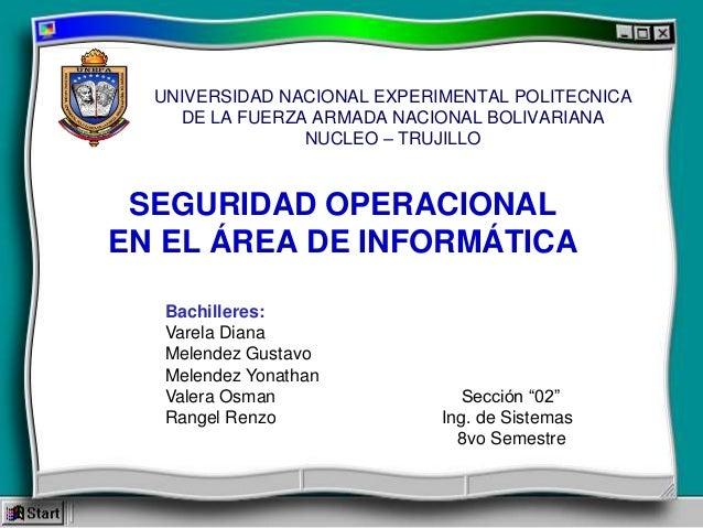 UNIVERSIDAD NACIONAL EXPERIMENTAL POLITECNICA DE LA FUERZA ARMADA NACIONAL BOLIVARIANA NUCLEO – TRUJILLO  SEGURIDAD OPERAC...