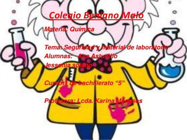 Colegio Benigno MaloMateria: QuímicaTema: Seguridad y material de laboratorioAlumnas: Ana AstudilloJessenia solanoCurso:1 ...