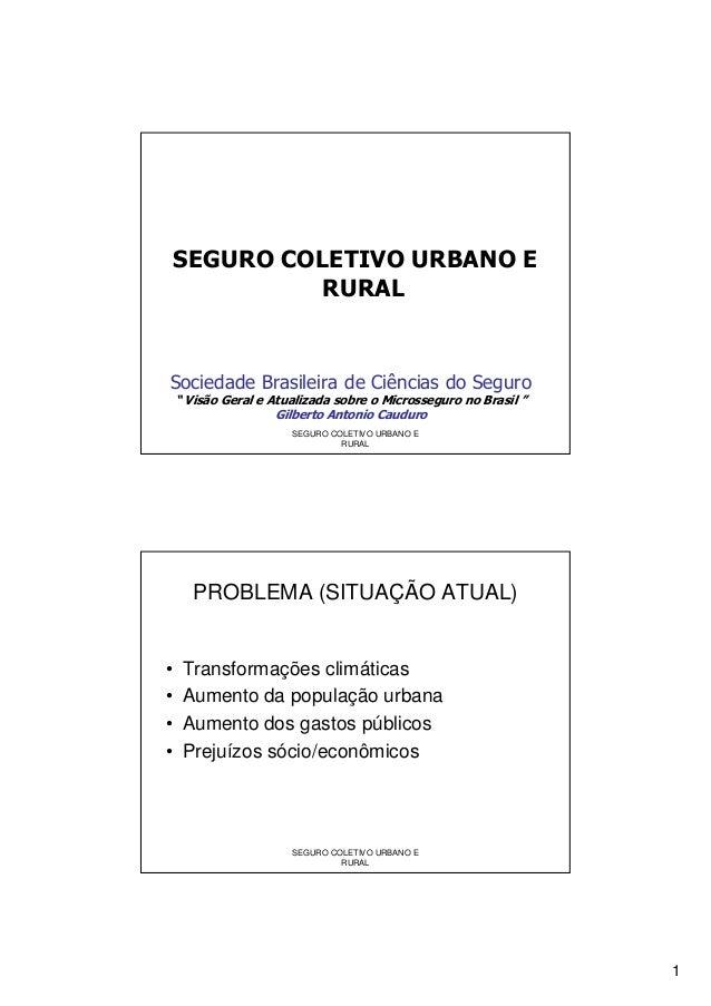 """1 SEGURO COLETIVO URBANO E RURAL Sociedade Brasileira de Ciências do Seguro """" Visão Geral e Atualizada sobre o Microssegur..."""