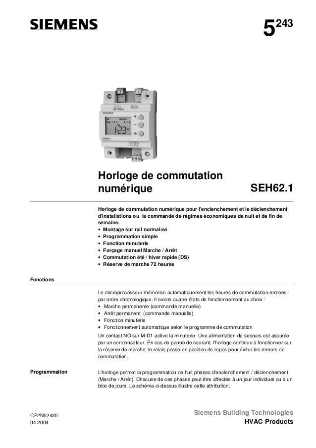5  243  Horloge de commutation numérique  SEH62.1  Horloge de commutation numérique pour l'enclenchement et le déclencheme...