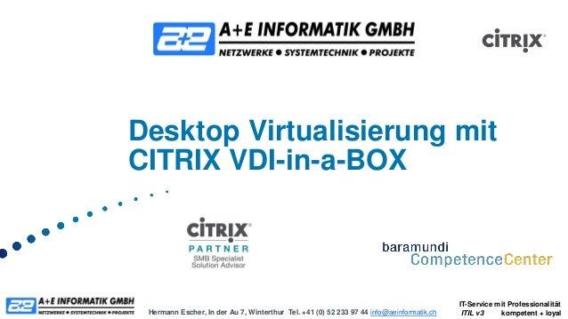 Desktop Virtualisierung mitCITRIX VDI-in-a-BOX                                                                            ...