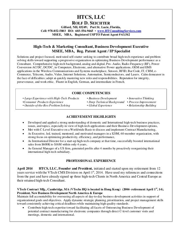 htcs llc high tech consulting services resume rolf seichter