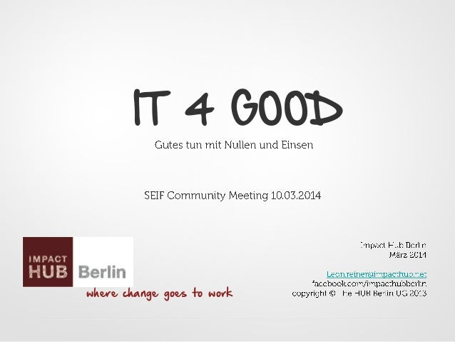 IT 4 GOOD where change goes to work