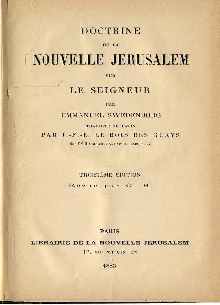 DOCTRINE                         DE LA    NOUVELLE JERUSALEM                          SUR            LE SEIGNEUR          ...