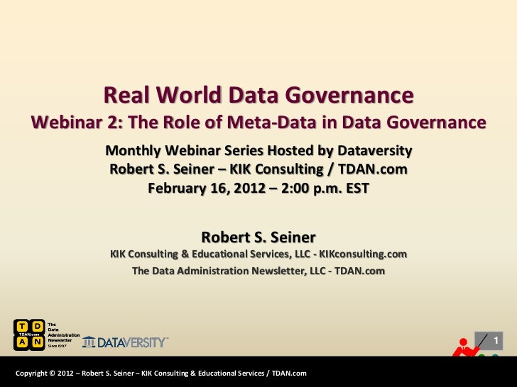 Real-World Data Governance: The Role of Meta-Data in Data Governance