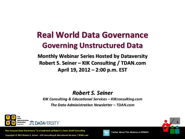 Real World Data Governance Governing Unstructured Data