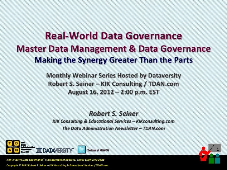 Real-World Data Governance: Master Data Management & Data Governance
