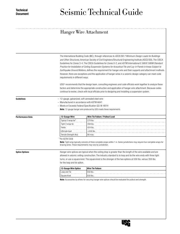 TechnicalDocument             Seismic Technical Guide                     Hanger Wire Attachment                     The I...