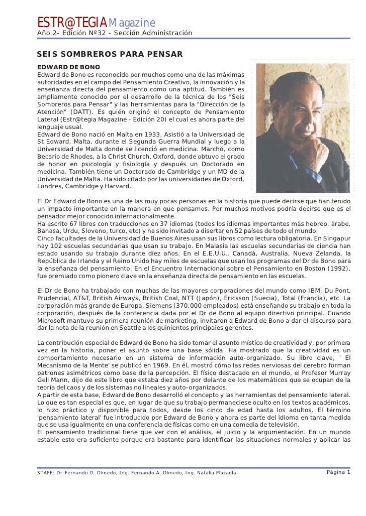 ESTR@TEGIA Magazine Año 2- Edición Nº32 - Sección Administración   SEIS SOMBREROS PARA PENSAR EDWARD DE BONO Edward de Bon...
