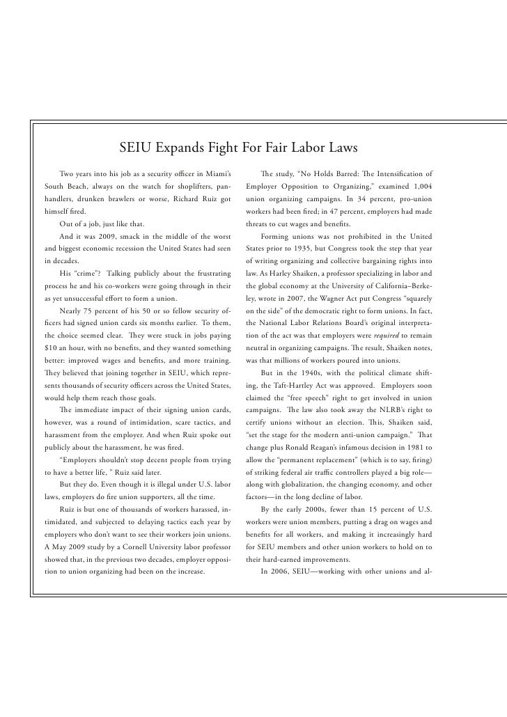 "SEIU Expands Fight For Fair Labor Laws    Two years into his job as a security o cer in Miami's             e study, ""No H..."