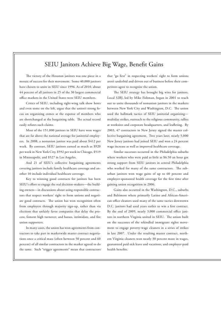 """SEIU Janitors Achieve Big Wage, Bene t Gains         e victory of the Houston janitors was one piece in a    that """"go rst""""..."""