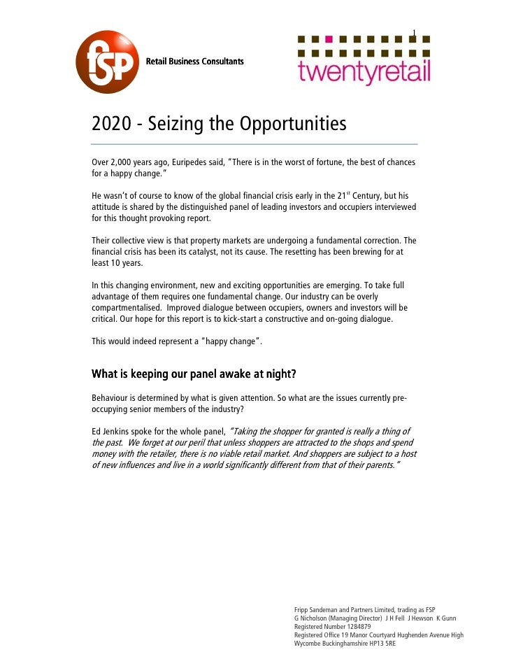 Seizing opportunities 2020