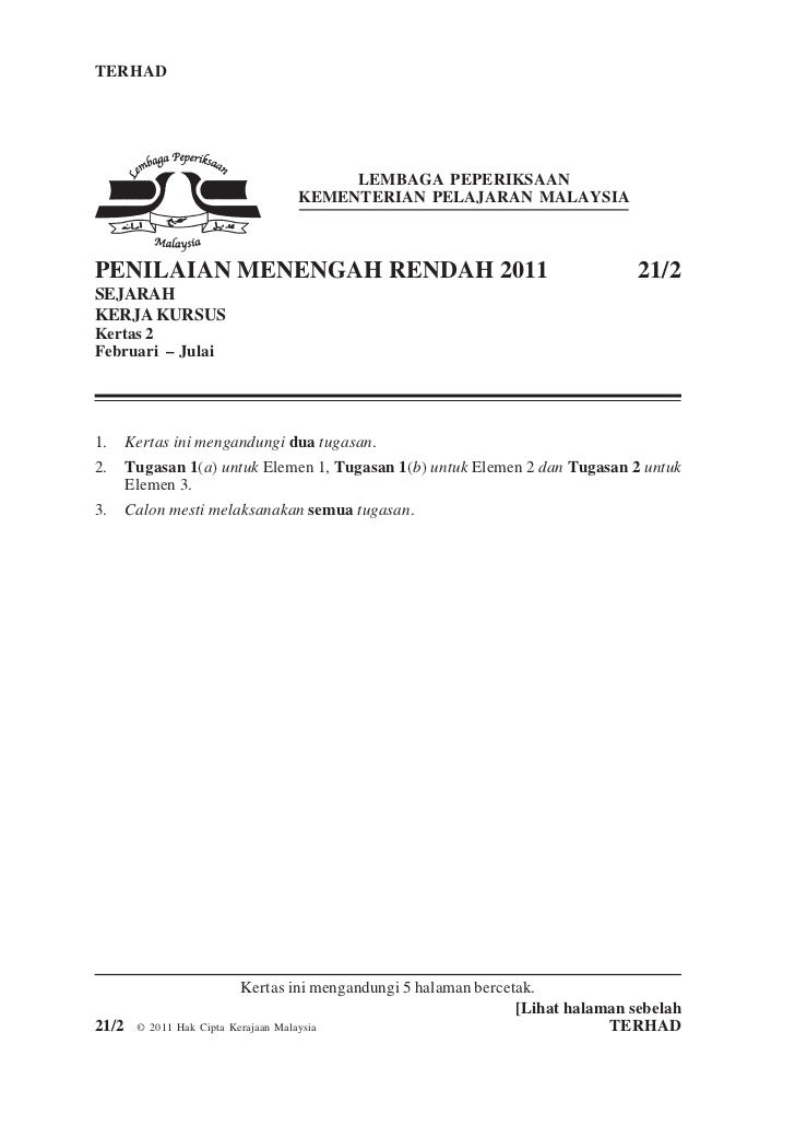 Sejarah Instructions For PMR 2011