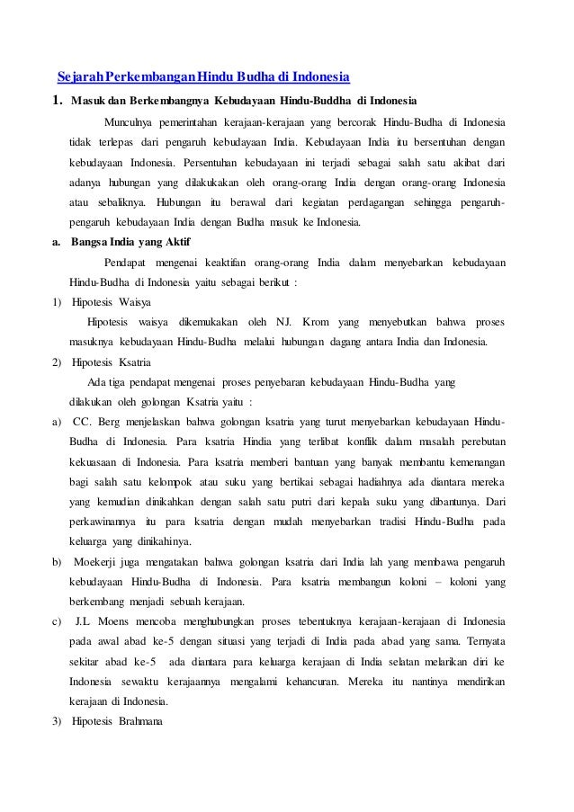 Sejarah Perkembangan Hindu Budha Di Indonesia