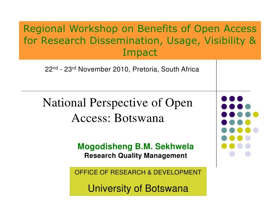 Regional Workshop on Benefits of Open Accessfor Research Dissemination, Usage, Visibility &                   Impact    22...