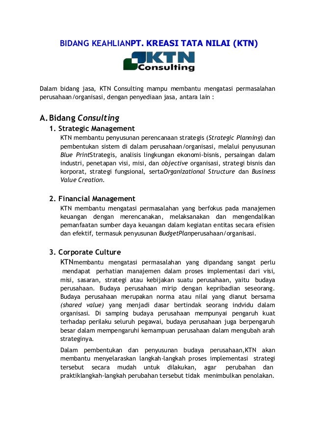 Sekilas BIDANG KEAHLIAN KTN Consulting & Provider  Training di Bandung & Jakarta