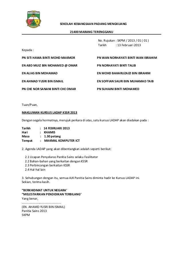 SEKOLAH KEBANGSAAN PADANG MENGKUANG 21400 MARANG TERENGGANU No. Rujukan : SKPM / 2013 / 01 ( 01 ) Tarikh : 13 Februari 201...