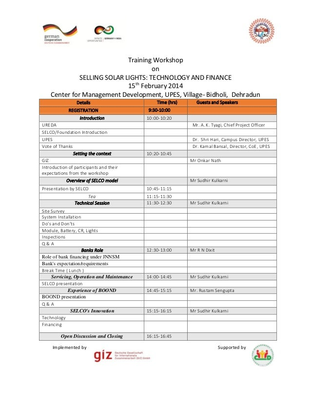 Selco Workshop Agenda (Events & Timings)