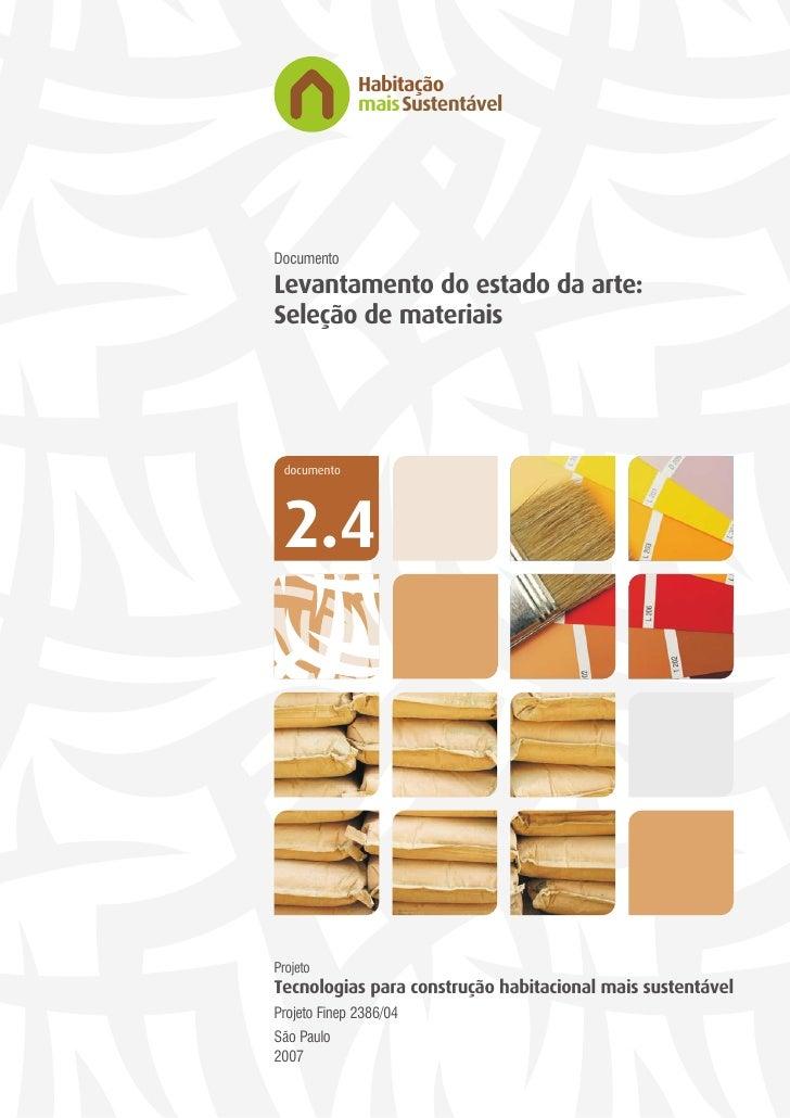 Habitação               maisSustentável     Documento Levantamento do estado da arte: Seleção de materiais      documento ...
