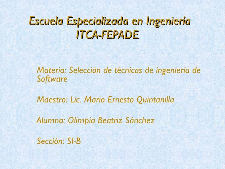 Selección de técnicas de ingeniería de software