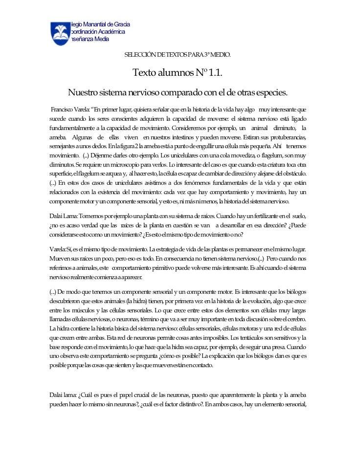 Colegio Manantial de Gracia      Coordinación Académica      Enseñanza Media                                   SELECCIÓN D...