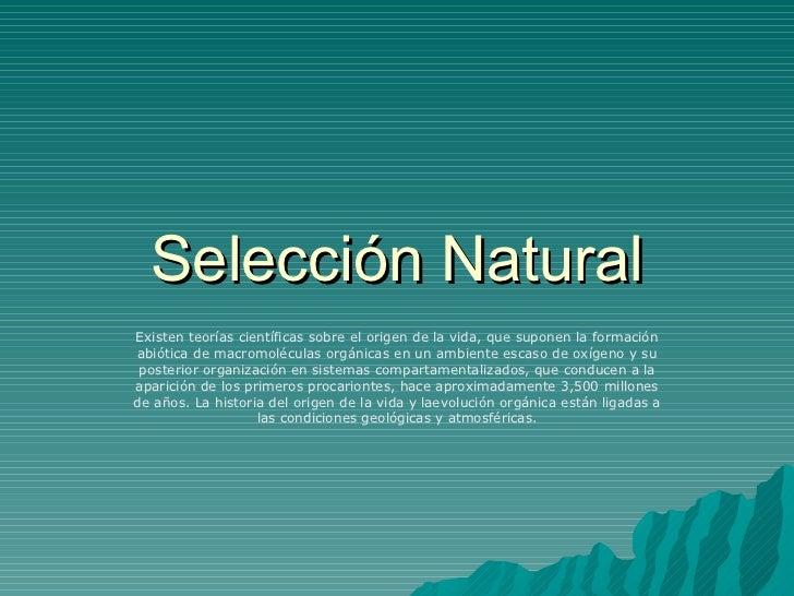 Selección Natural Existen teorías científicas sobre el origen de la vida, que suponen la formación abiótica de macromolécu...