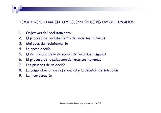 Dirección de Recursos Humanos LADE TEMA 3: RECLUTAMIENTO Y SELECCIÓN DE RECURSOS HUMANOS 1. Objetivos del reclutamiento 2....