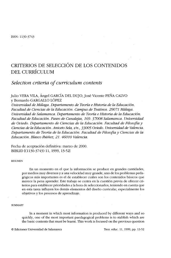 ISSN: 1130-3743CRITERIOS DE SELECCIÓN DE LOS CONTENIDOSDEL CURRÍCULUMSelection criteria of curriculum                   co...