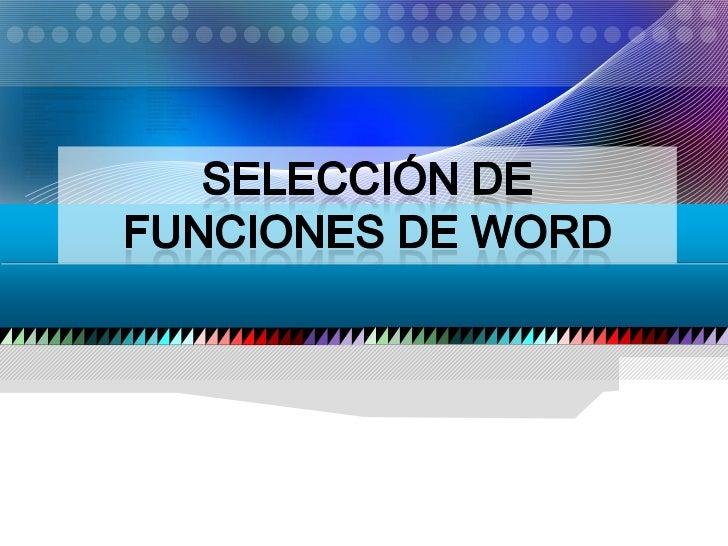 Seleccion de funciones en word