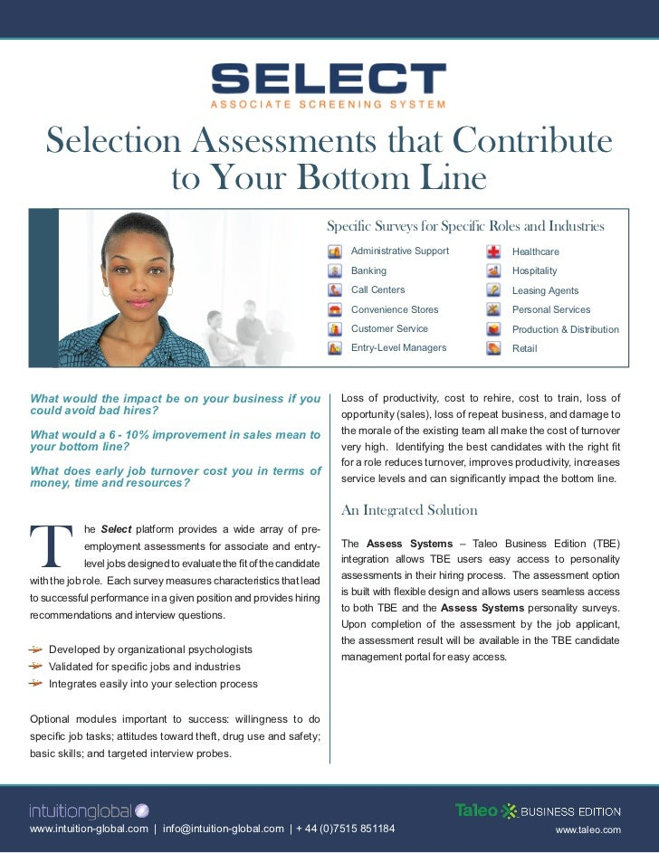 Selection Assessments that Contribute            to Your Bottom Line                                                      ...