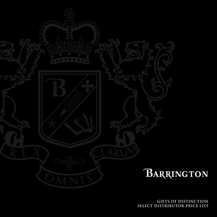 Barrington's Distributor Select Pricing