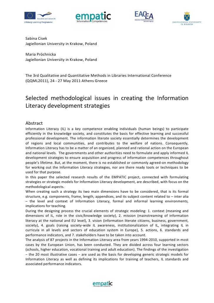 Selected methodological issues in creating the Information Literacy development strategies