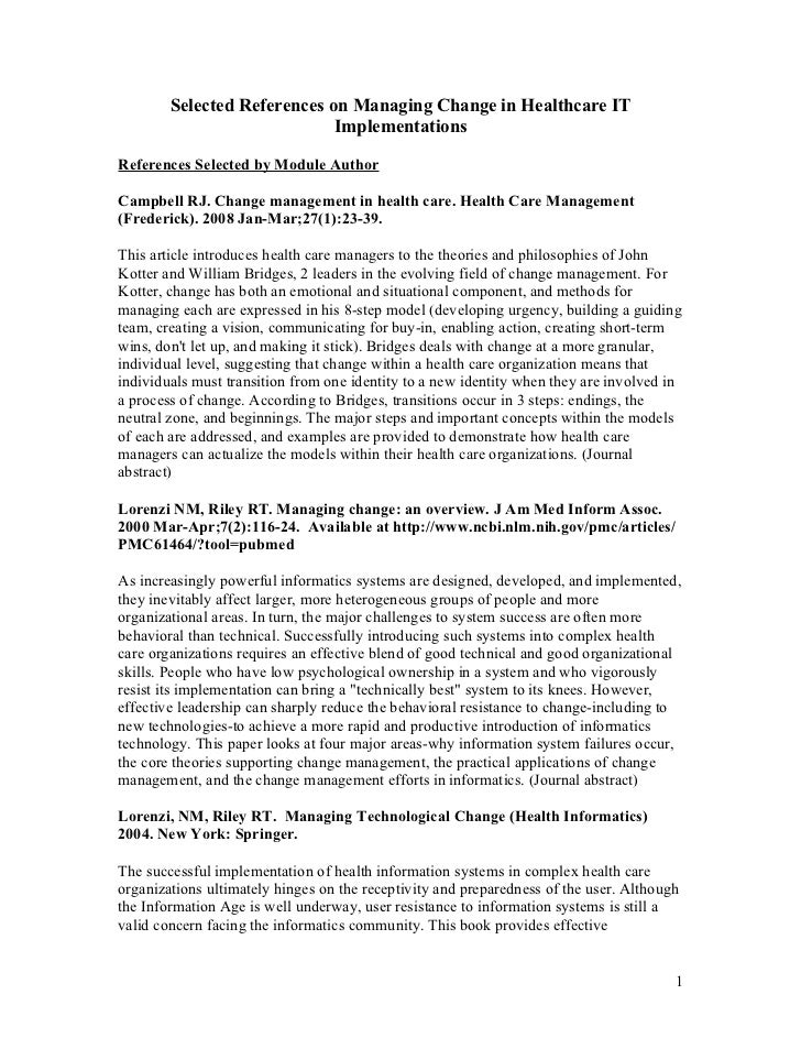 Selected References on Managing Change in Healthcare IT                             ImplementationsReferences Selected by ...