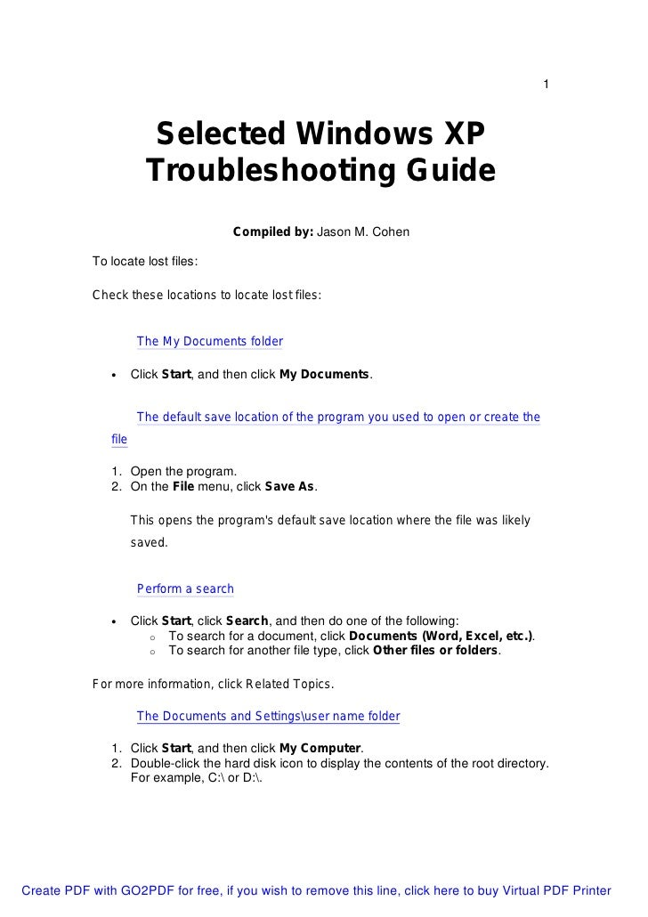 1                         Selected Windows XP                        Troubleshooting Guide                                ...