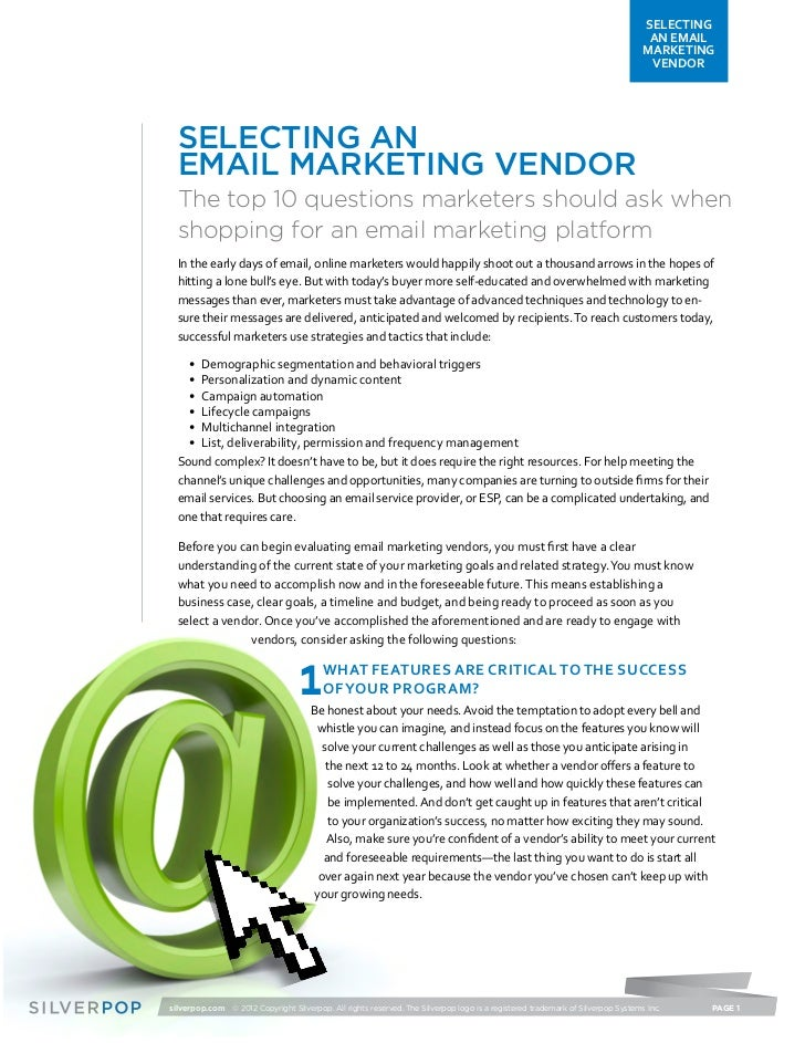 Selecting and Email Marketing Vendor