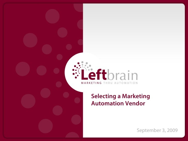 Selecting a Marketing Automation Vendor