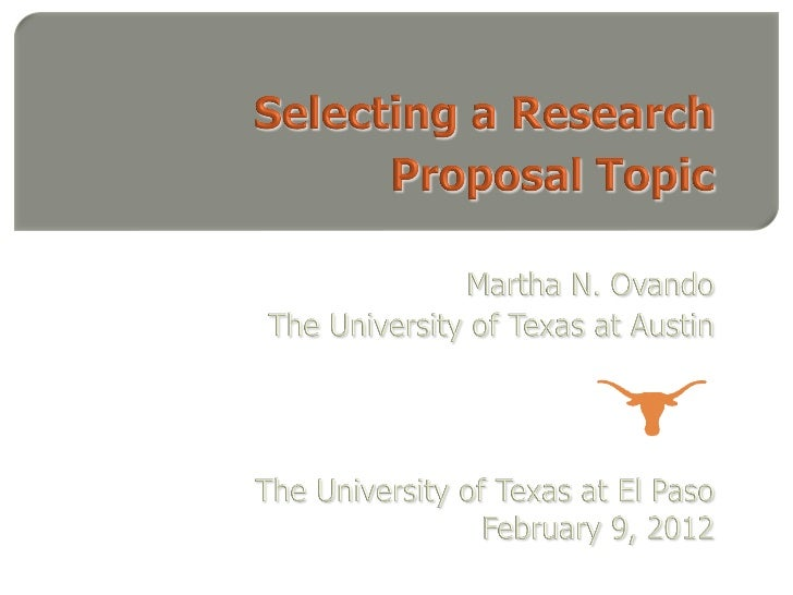 Selecting a Research Proposal Topic, Spring 2012
