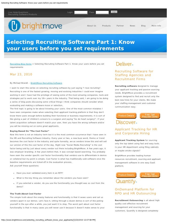 Selecting Recruiting Software  Know Your Users Before You Set Requirements