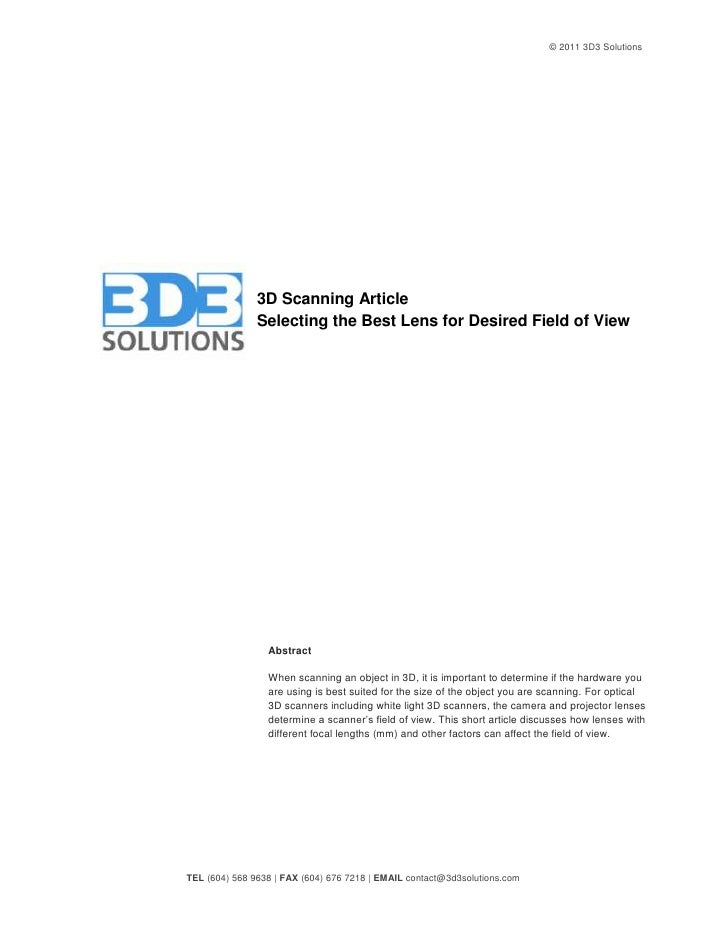 © 2010 3D3 Solutions                    3D Scanning Article                Selecting the Best Lens for Desired Field of Vi...