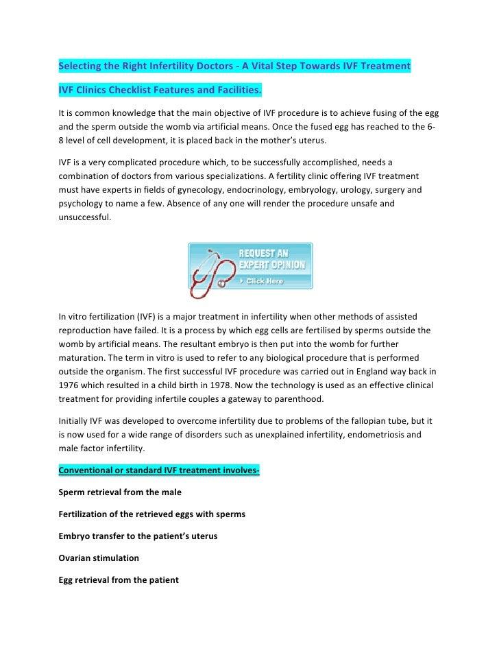 SelectingtheRightInfertilityDoctors‐AVitalStepTowardsIVFTreatment  IVFClinicsChecklistFeaturesandFaciliti...